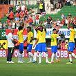 Brazil's players react after the international friendly footbal match Austria vs Brazil in Vienna, on June 10, 2018. / AFP PHOTO / JOE KLAMAR