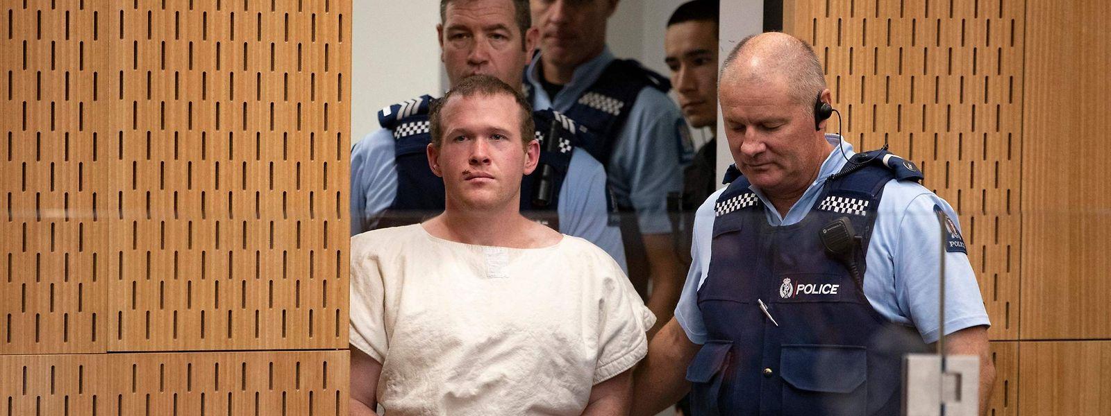 Der Angeklagte Brenton Tarrant vor Gericht.