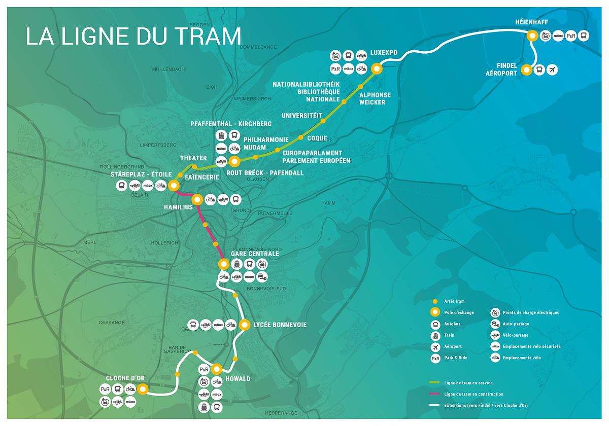 La partie rouge représente la ligne du tram en cours de construction qui doit être livrée fin 2020.