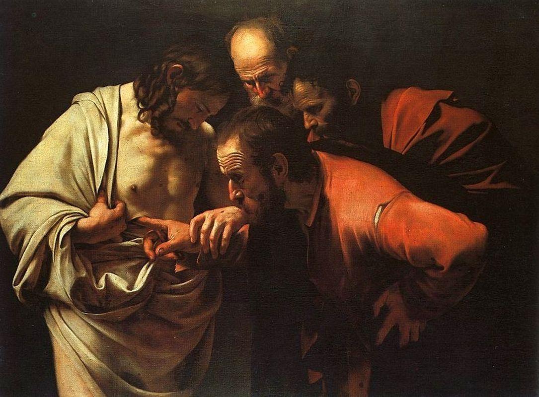 """Der """"ungläubige Thomas"""" inspiziert die Wundmale Jesu Christi im gleichnamigen Gemälde von Caravaggio, um 1601."""