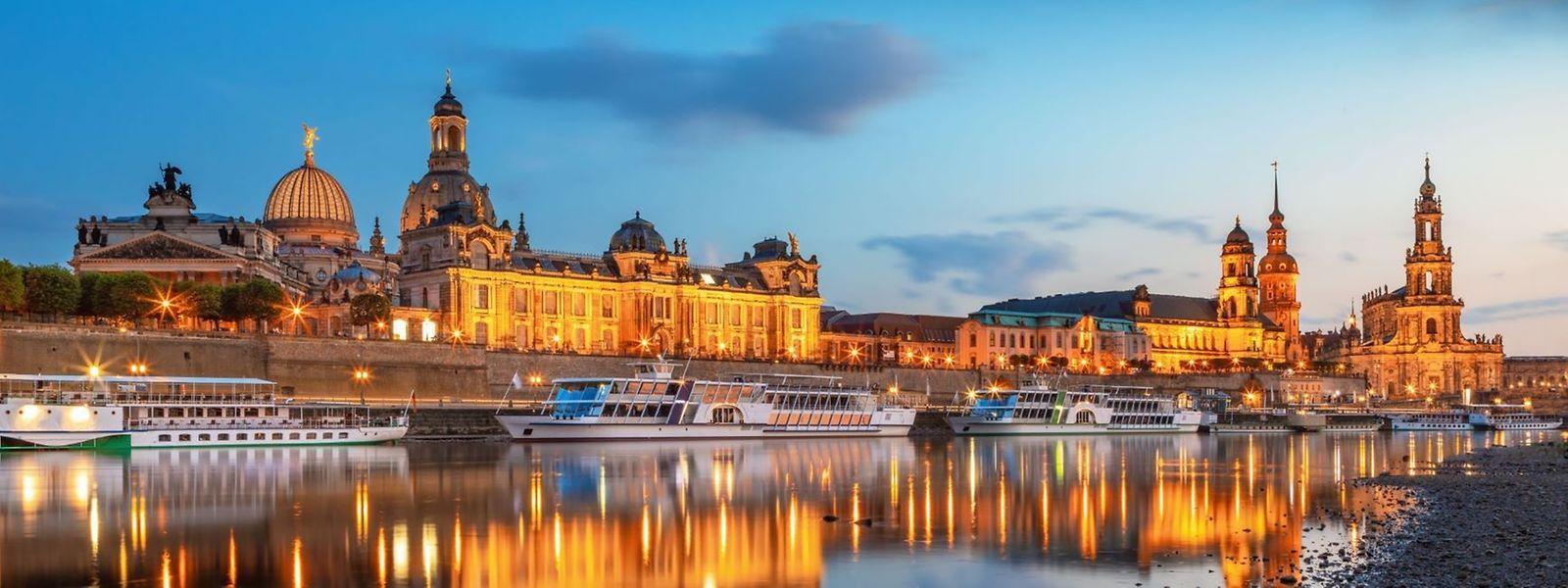 Abendlicher Blick auf Dresden.
