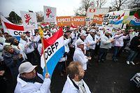 Manifestation CGFP protestiert vor BCEE Gebäude,Spuerkees,Gerwerkschaft.Foto:Gerry Huberty