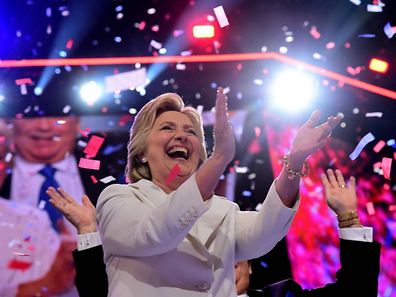 Hillary Clinton celebrates on the last day of the Democratic National Convention at the Wells Fargo Center, July 28, 2016 in Philadelphia, Pennsylvania.    / AFP PHOTO / Robyn Beck