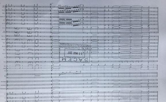 """Extrait de la partition """"Aiva Ouverture"""" opus 23 en la mineur commandée pour la cérémonie de la fête nationale à la Philharmonie."""