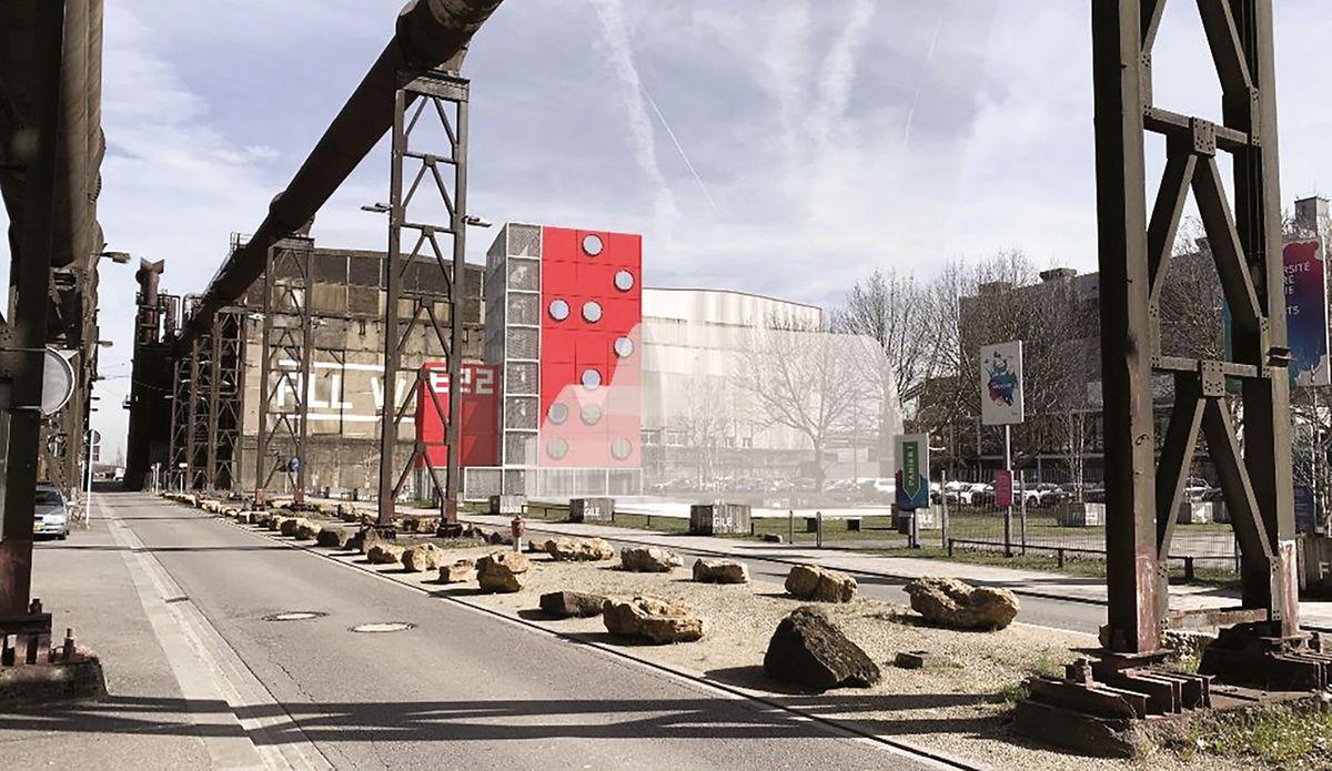 """Auf dieser Grafik sind die künftigen Bürogebäude von Esch 2022 rot eingezeichnet. Die weiße Form im Vordergrund stellt das """"Skip""""-Gebäude dar, das von Raemerich nach Belval umziehen wird."""