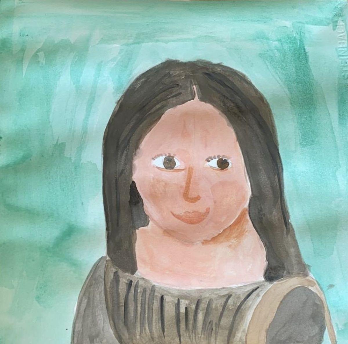 """Für ihre Mona Lisa hat die 11--jährige Julie Wasserfarben benutzt: """"Den Verlauf von Wasserfarben kann man nicht immer ganz kontrollieren, und das lässt oft Details entstehen, die einen selber überraschen"""""""