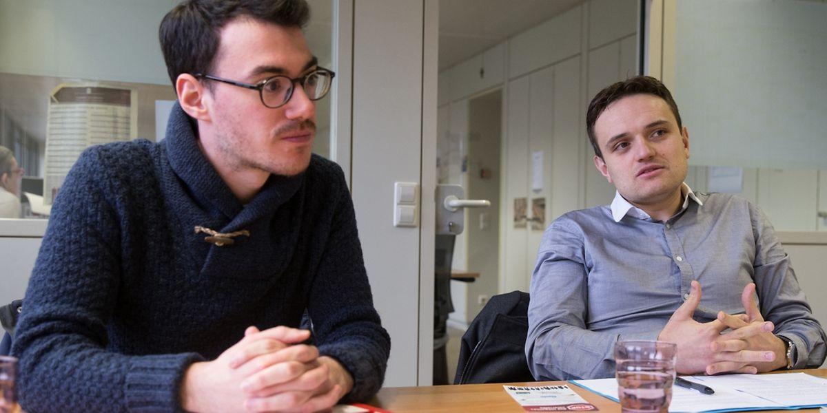 Die Jungsozialisten Fabio Spirinelli (Generalsekretär) und Jimmy Skenderovic (Präsident) wollen inhaltliche Diskussionen fürs Wahlprogramm anstoßen. Stichwort: soziale Ungleichheiten bekämpfen und mehr Umverteilung über das Steuersystem.