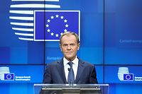 (FILES) In this file photo taken on October 18, 2019 European Council President Donald Tusk addresses media representatives at a press conference during a European Union Summit at European Union Headquarters in Brussels. - Polish Tusk should become on November 19, 2019, the first Eastern European to lead the European People's Party (EPP). (Photo by Aris OIKONOMOU / AFP)