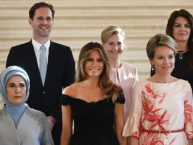 Gauthier Destanay, the husband of Luxembourg's Prime Minister Xavier Bettel, was standing right behind Melania Trump in the group photo.