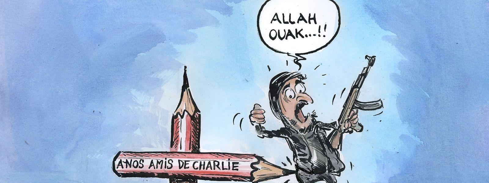 La caricature publiée dans le «Tageblatt» par Carlo Schneider au lendemain de l'attentat dans les locaux de «Charlie Hebdo» qui a fait 12 morts le 7 janvier 2015.