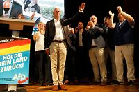 Andreas Kalbitz (C), top candidate of the far-right AfD (Alternative for Germany) party for state elections in Brandenburg, waves on stage after the first exit polls during the AfD's election party on September 1, 2019 in Werder an der Havel near Potsdam, eastern Germany. - Voters went to the polls for state elections in Brandenburg and Saxony, two states in the ex-communist east. The election results could reverberate across German politics. For Chancellor Angela Merkel, an election debacle for either her conservative Christian Democratic Union (CDU) or junior coalition partner the social democratic SPD would spell another threat to their uneasy coalition. (Photo by Odd ANDERSEN / AFP)