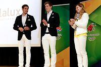 Raphaël Stacchiotti, Laurent Carnol und Julie Meynen in ihren Rio-Eröffnungsoutfits.