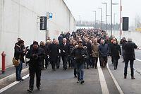Après le couper de ruban sur le giratoire d'accès, ministres français et luxembourgeois, préfet, élus, ingénieurs et acteurs du projet de la Liaison Micheville sont descendus dans le tunnel Central Gate de Belval pour la cérémonie officielle, ce vendredi matin.