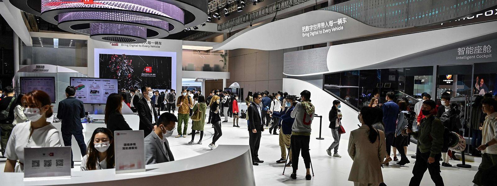 Der Huawei-Stand auf der Autoausstellung in Shanghai.