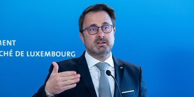 Prime Minister Xavier Bettel speaking at a press briefing on Friday
