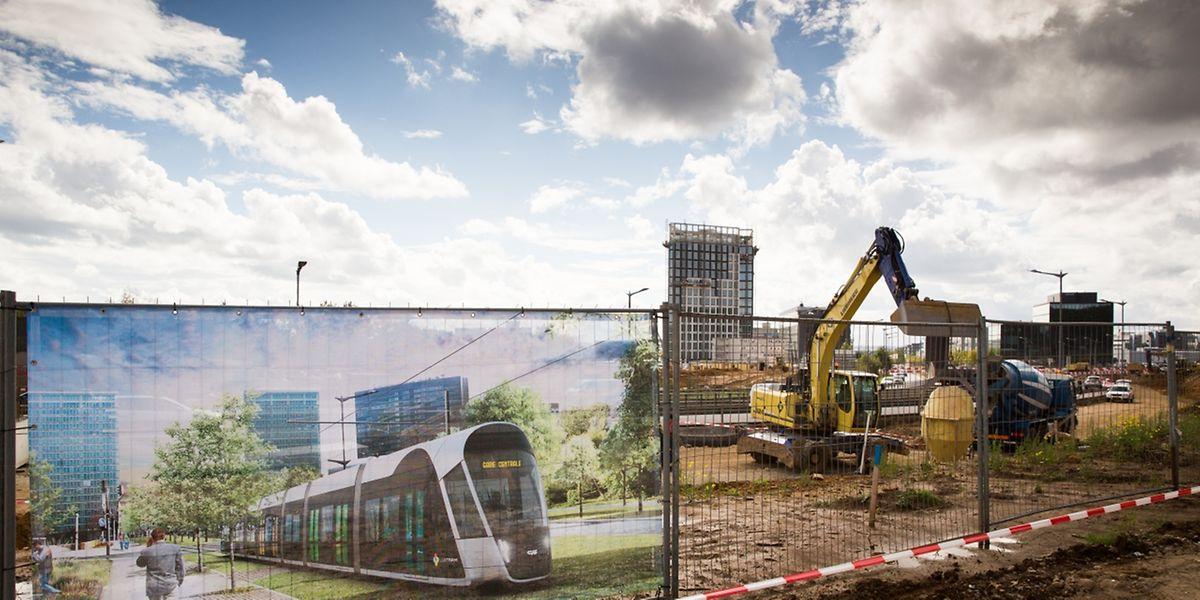 """Die Arbeiten am """"Tramsschapp"""" in Kirchberg sind längst angelaufen, mit den Vorbereitungen für die Verlegung der Gleise wird im Januar begonnen."""
