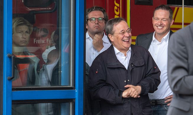 Armin Laschet, CDU leader and potential successor to Angela Merkel, was seen laughing as President Steinmeier was delivering a speech