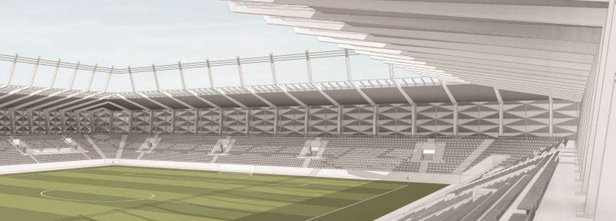 2019 soll der Ball im neuen Stadion rollen.
