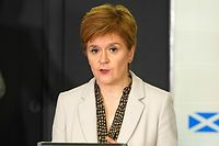 """A handout picture released by the Scottish Government on September 3, 2020 shows Scotland's First Minister, Nicola Sturgeon speaking during the Scottish government's daily briefing on the novel coronavirus COVID-19 outbreak, at St. Andrew's House, Edinburgh. (Photo by - / various sources / AFP) / RESTRICTED TO EDITORIAL USE - MANDATORY CREDIT  """" AFP PHOTO / SCOTTISH GOVERNMENT """"  -  NO MARKETING NO ADVERTISING CAMPAIGNS   -   DISTRIBUTED AS A SERVICE TO CLIENTS - NO ARCHIVES"""