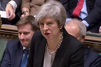 "A video grab from footage broadcast by the UK Parliament's Parliamentary Recording Unit (PRU) shows Britain's Prime Minister Theresa May as she speaks at the beggining of a debate in the House of Commons in London on January 29, 2019. - British Prime Minister Theresa May will seek ""legal changes"" to the Brexit deal she agreed with EU leaders only last month to try to secure the support of MPs, her spokesman said Tuesday. (Photo by HO / various sources / AFP) / RESTRICTED TO EDITORIAL USE - MANDATORY CREDIT "" AFP PHOTO / PRU "" - NO USE FOR ENTERTAINMENT, SATIRICAL, MARKETING OR ADVERTISING CAMPAIGNS"