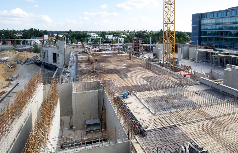 Sehr imposant präsentiert sich die Baustelle der neuen Nationalbibliothek in Kirchberg.