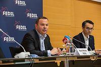 Wi , PK Fedil , Nationale Klimaziele Industrie Luxemburg , Rene Winkin und Gaston Trauffler , Foto:Guy Jallay/Luxemburger Wort