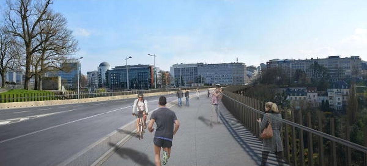 Sur le tablier restructuré, piétons et cyclistes se partageront une large bande de 4,50 mètres mais que d'un seul côté. L'autre côté est réservé aux seuls piétons.