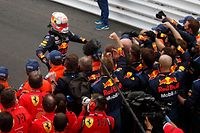 Winner Red Bull's Dutch driver Max Verstappen celebrates after the Monaco Formula 1 Grand Prix at the Monaco street circuit in Monaco, on May 23, 2021. (Photo by GONZALO FUENTES / POOL / AFP)