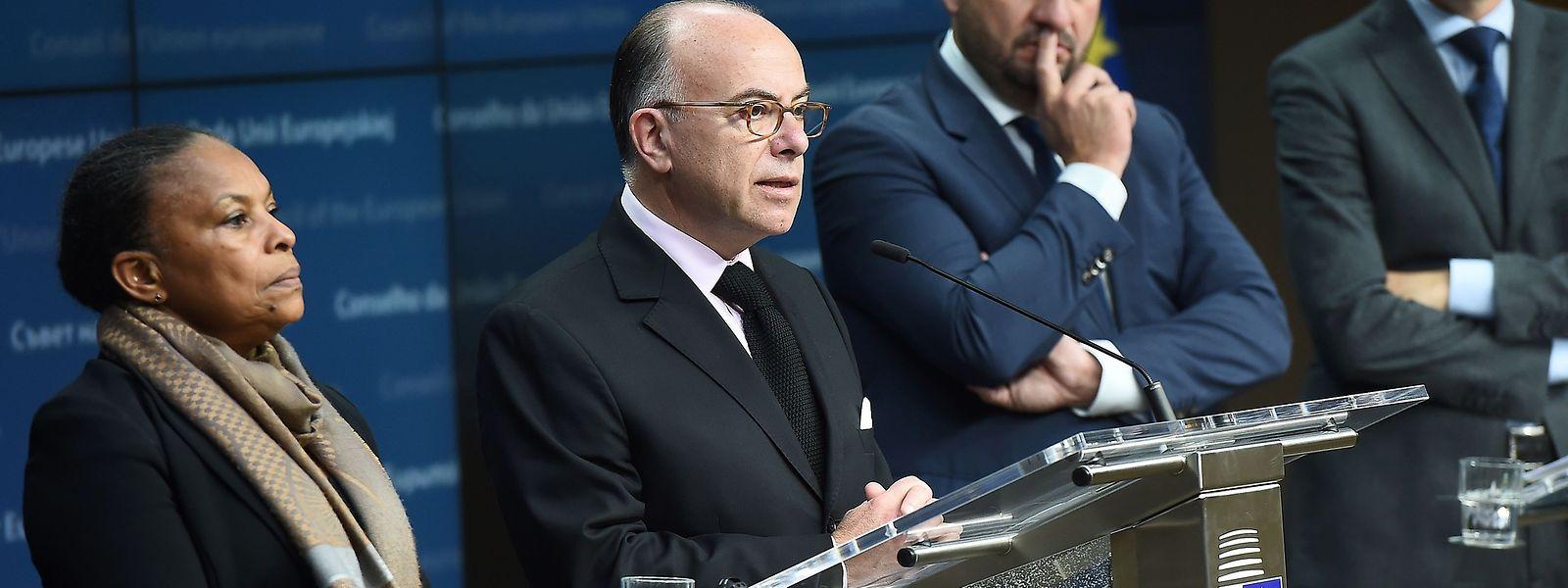 Die französische Justizministerin Christiane Taubira, der französische Innenminister Bernard Cazeneuve, Innenminister Etienne Schneider und Justizminister Minister Felix Braz.