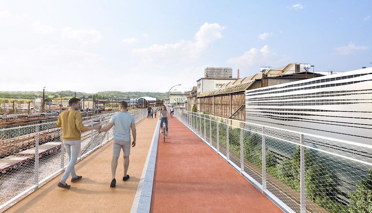 La passerelle du tronçon express reliant Esch-sur-Alzette à Belval  sera construite à 7,50 mètres au-dessus du sol et fera 4,50 mètres de large.