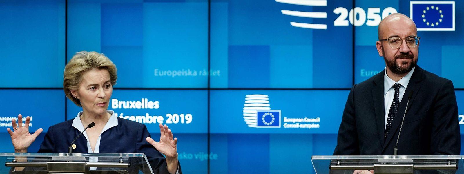 EU-Kommissionspräsidentin Ursula von der Leyen und EU-Ratspräsident Charles Michel am Freitagabend.