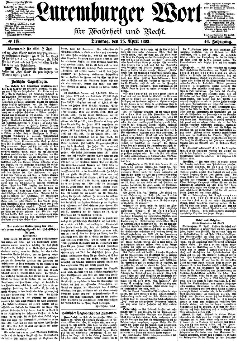 A edição de 25 de abril de 1893 do Luxemburger Wort dava conta da morte do último lobo luxemburgês. Passaram 124 anos até o animal encontrar o caminho de volta a casa.