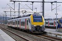 """Bahnhof Gouvy - erste Bahnstation in Richtung L¸ttich/LiËge in Belgien nach Ulflingen. Der Zug ist eine """"automotrice"""" der SNCB der Serie """"Desirio 08"""" / Foto: Armand WAGNER"""