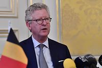 Minister of Interior Affairs and Foreign Trade Pieter De Crem speaks during a press conference regarding the closure of the borders with The Netherlands, France, Germany and Luxembourg to non-essentials travel on March 20, 2020, in Brussels. - From March 18, new measures have been taken to avoid the spread of the novel coronavirus,  Covid-19. There are 2257 persons infected in Belgium, to date. (Photo by DIRK WAEM / various sources / AFP) / Belgium OUT