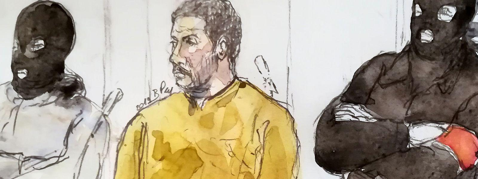 Eine Zeichnung vom 10. Januar zeigt Mehdi Nemmouche (Mitte) vor Gericht. Er wurde als Hauptverdächtiger schuldig gesprochen.