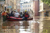 Stundenlange Regenfälle brachten Mitte Juli Überschwemmungen. Einige Orte, hier Echternach, wurden komplett überflutet.