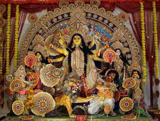 The many-armed Goddess Durga brought peace and prosperity to the universe, according to Hindu mythology