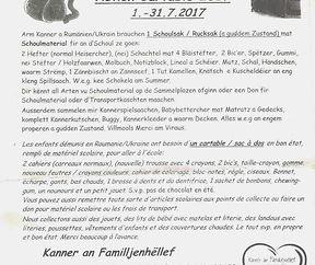 Schoulsak- Aktioun 2017- Kanner an Familljenhëllef