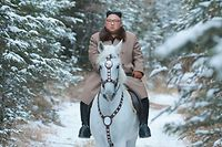 "This undated picture released by Korean Central News Agency on October 16, 2019 shows North Korean leader Kim Jong Un riding a white horse amongst the first snow at Mouth Paektu. (Photo by STR / KCNA VIA KNS / AFP) / - South Korea OUT / REPUBLIC OF KOREA OUT   ---EDITORS NOTE--- RESTRICTED TO EDITORIAL USE - MANDATORY CREDIT ""AFP PHOTO/KCNA VIA KNS"" - NO MARKETING NO ADVERTISING CAMPAIGNS - DISTRIBUTED AS A SERVICE TO CLIENTS THIS PICTURE WAS MADE AVAILABLE BY A THIRD PARTY. AFP CAN NOT INDEPENDENTLY VERIFY THE AUTHENTICITY, LOCATION, DATE AND CONTENT OF THIS IMAGE /"