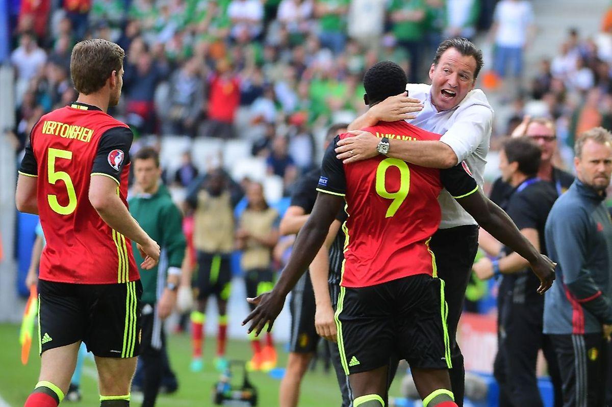 Marc Wilmots, fou de joie à l'ouverture du score par les Diables rouges.