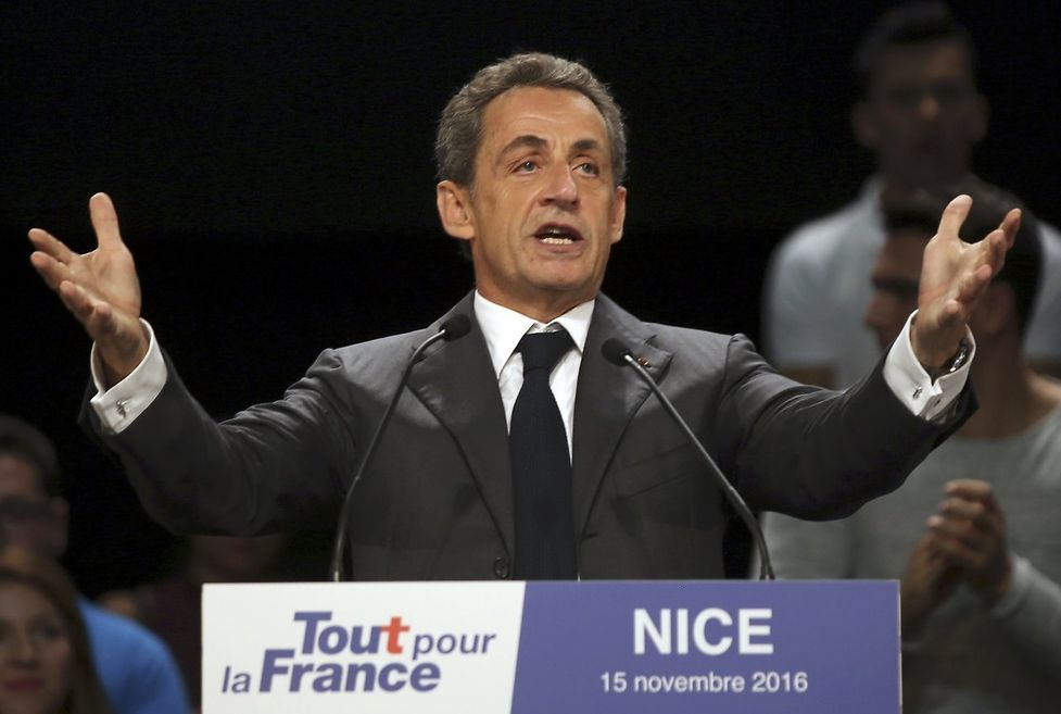 """Nicolas Sarkozy, former head of the """"Les Republicains"""" political party and candidate for the French centre-right presidential primary, attends a campaign rally in Nice, France"""