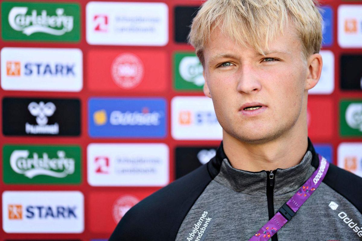 """Le Danois Kasper Dolberg aura fort à faire ce soir face à des Anglais impatients de remporter un titre """"à la maison""""."""