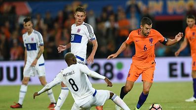 Luxembourg's Christophe Martins (L) vies with Dutch's Kevin Strootman (R) during the FIFA World Cup 2018 qualification football match between Netherlands and Luxembourg.