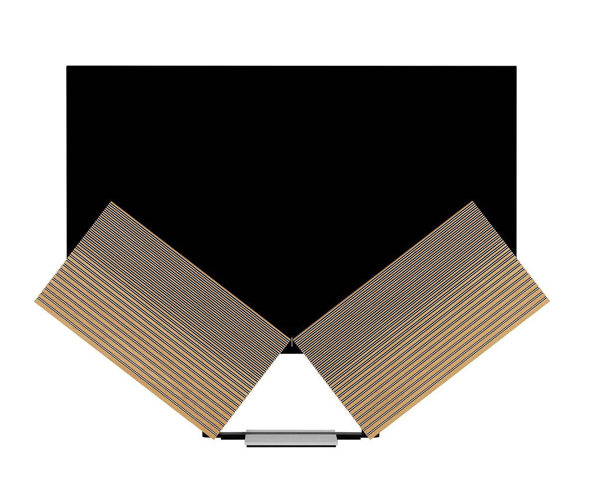 """Die Mattscheibe des """"Beovision Harmony"""" von Bang & Olufsen fährt in die Höhe, während die zwei Lautsprecher wie bei einem Schmetterling ausgeklappt werden. Preis: um 18.500 Euro."""