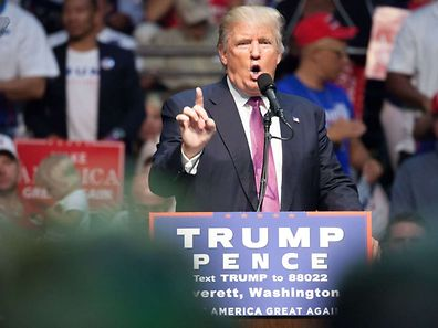 EVERETT, WA - AUGUST 30: Republican presidential candidate Donald Trump speaks during a campaign rally on August 30, 2016 in Everett, Washington. Trump addressed immigration issues on the same night that his campaign confirmed an August 31 meeting with Mexican President Enrique Pe�a Nieto.   Matt Mills McKnight/Getty Images/AFP == FOR NEWSPAPERS, INTERNET, TELCOS & TELEVISION USE ONLY ==