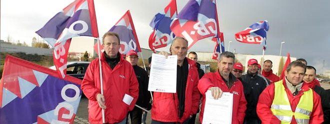 """Protestaktion in der Industriezone """"Scheleck""""."""