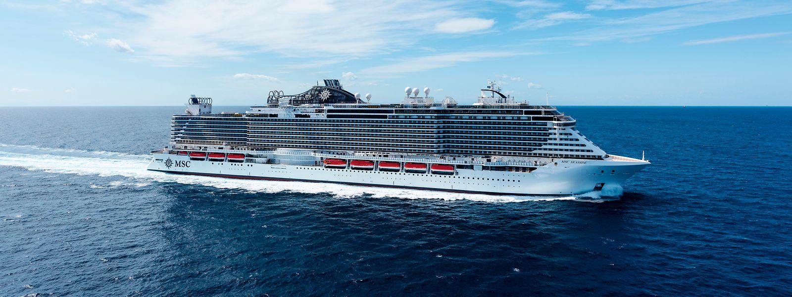 Ein wenig mehr Freiraum als sonst: Eigentlich bietet die 323 Meter lange MSC Seaside Platz für rund 5.000 Passagiere, doch coronabedingt werden nur 70 Prozent der Kabinen belegt.