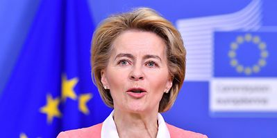 Ursula von der Leyen at a press conference