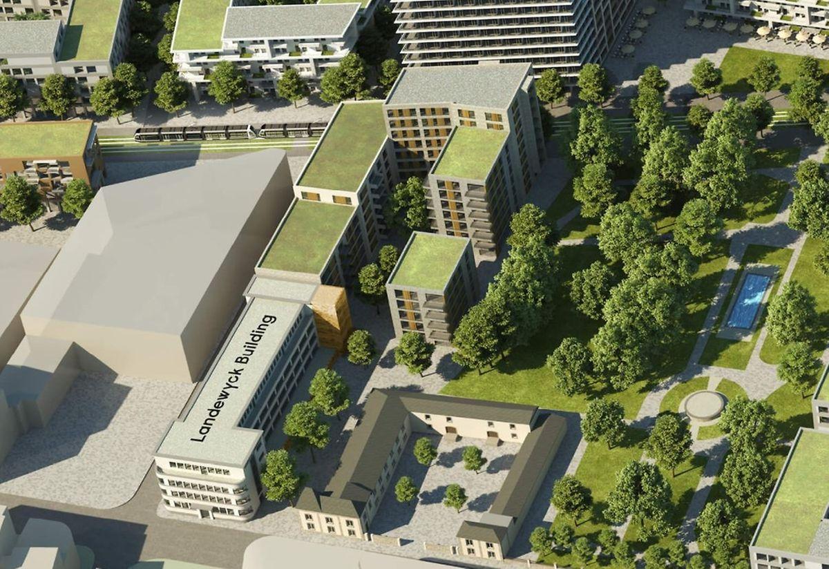 A deux pas de l'ancien siège du tabatier, le parc sera ouvert au public dans le nouveau quartier.