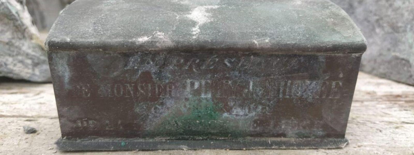 Die Metallschatulle mit dem Herzen des Bürgermeisters Pierre David.